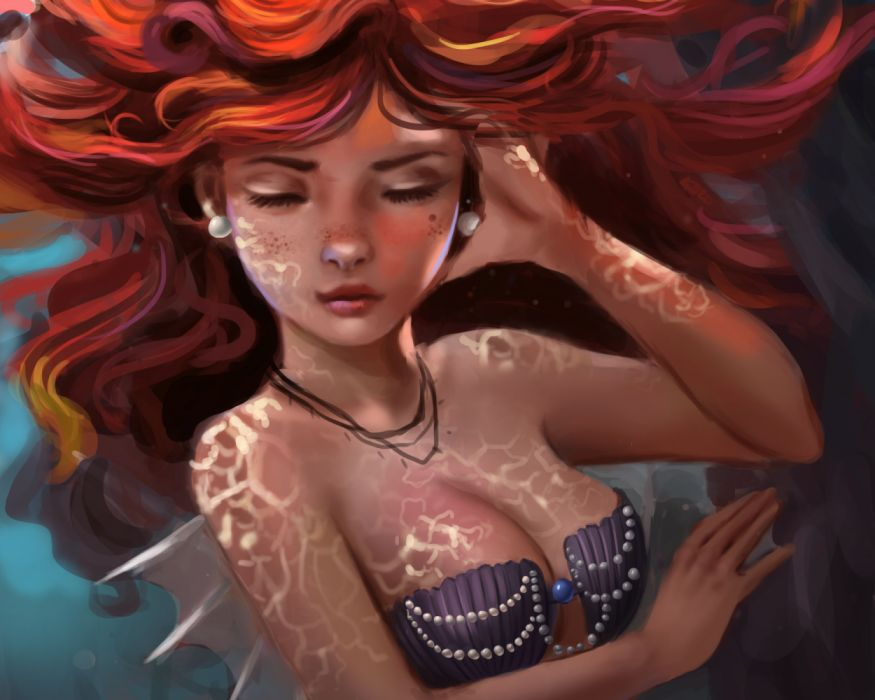 ariel beauty girls cinema cartoons underwater drawings fantasy wallpaper