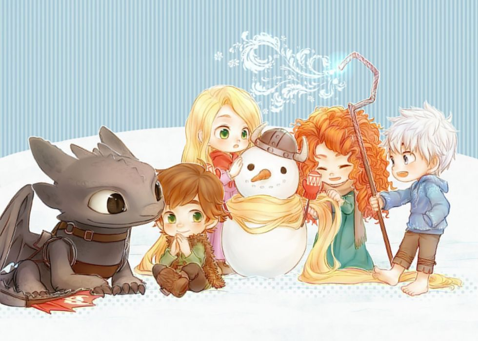 children dragons animals cartoons objects drawings snow fantasy wallpaper