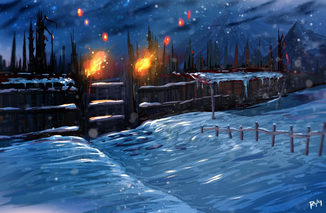 mountains winter fire objects nature drawings snow wallpaper