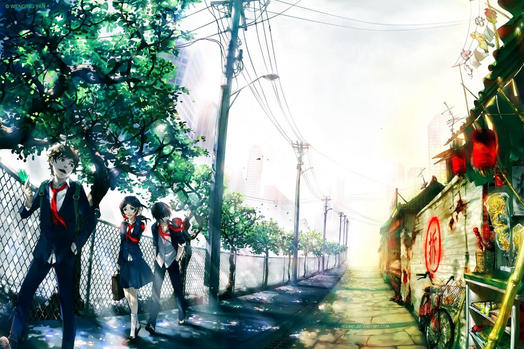 anime trees road people sky drawings wallpaper