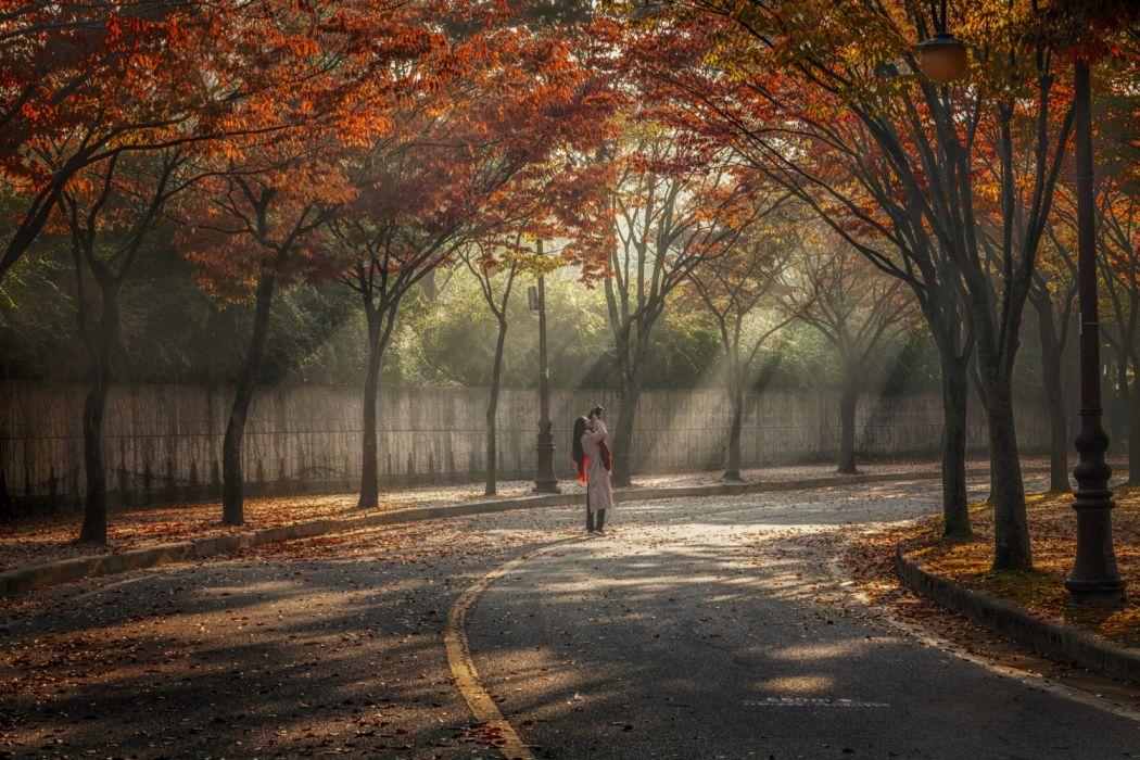 Girls Trees Roads Autumn Objects Nature original wallpaper