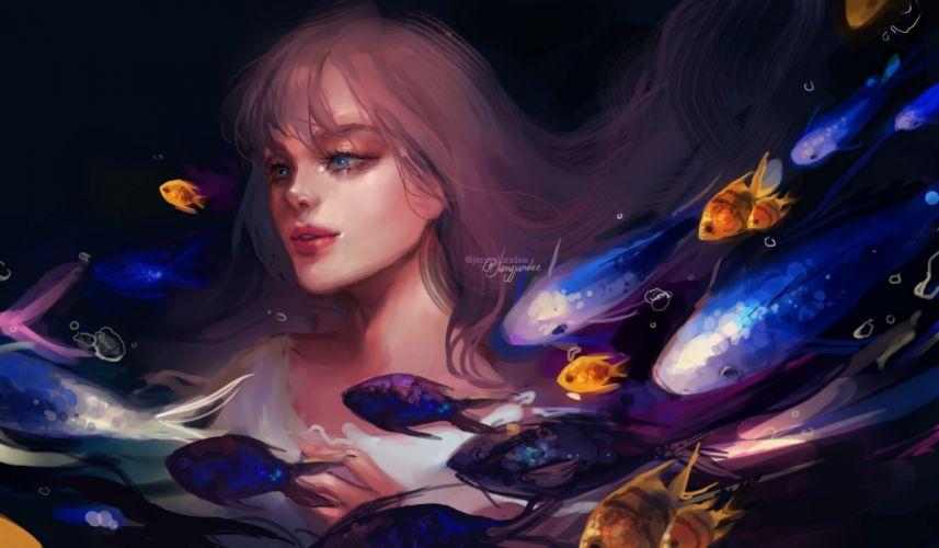 fantasy original girls underwater drawings fish balls wallpaper