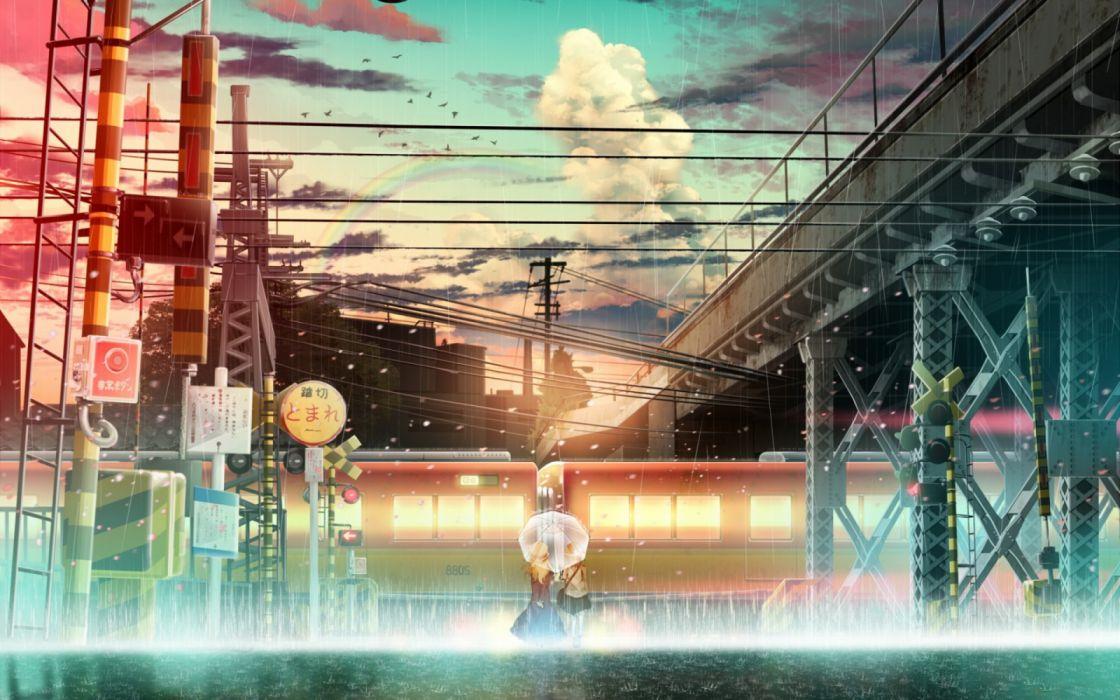 anime girls rain manga bridges sky trains objects birds wallpaper