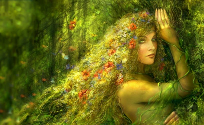 fantasy beauty girl face long hair woman forest flower wallpaper