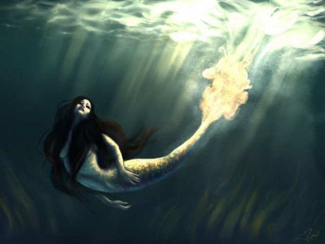 fantasy beauty girl face long hair woman mermaid water wallpaper