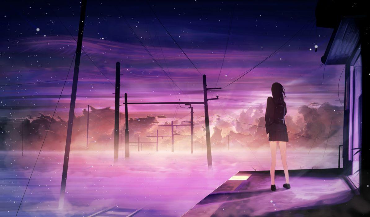 anime girl alone sky wallpaper