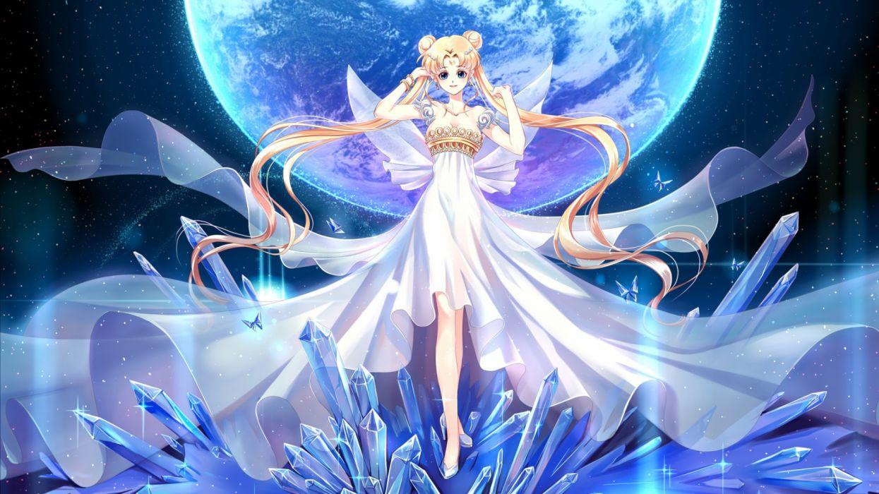 usagi anime girls space fantasy sailormoon dress princess wallpaper