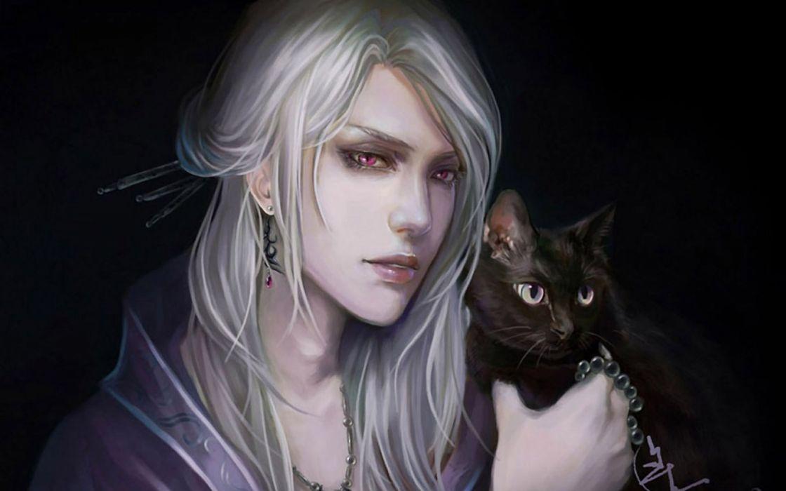 sad animals cats men drawings fantasy widescreen elves wallpaper