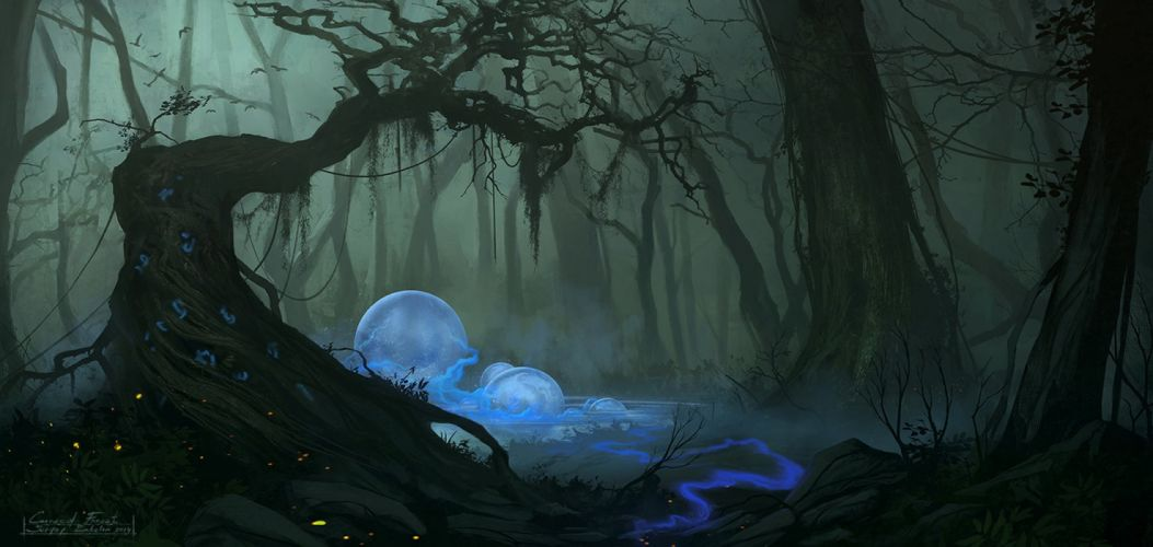 water trees forest moon nature drawings fog fantasy wallpaper