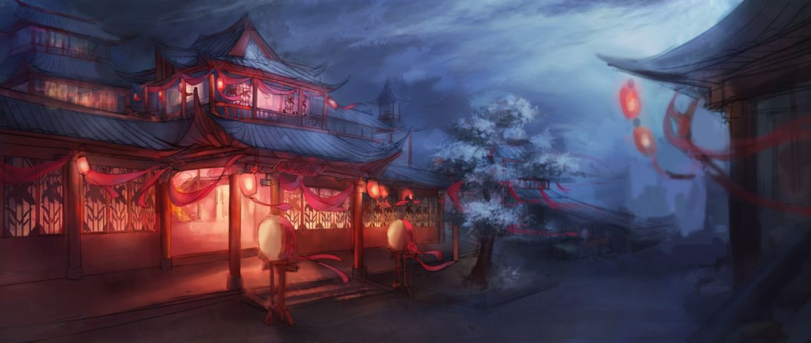 sakura fantasy art house night wallpaper