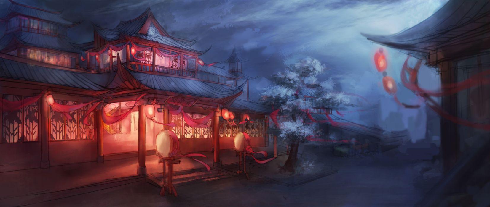 sakura fantasy art house night wallpaper