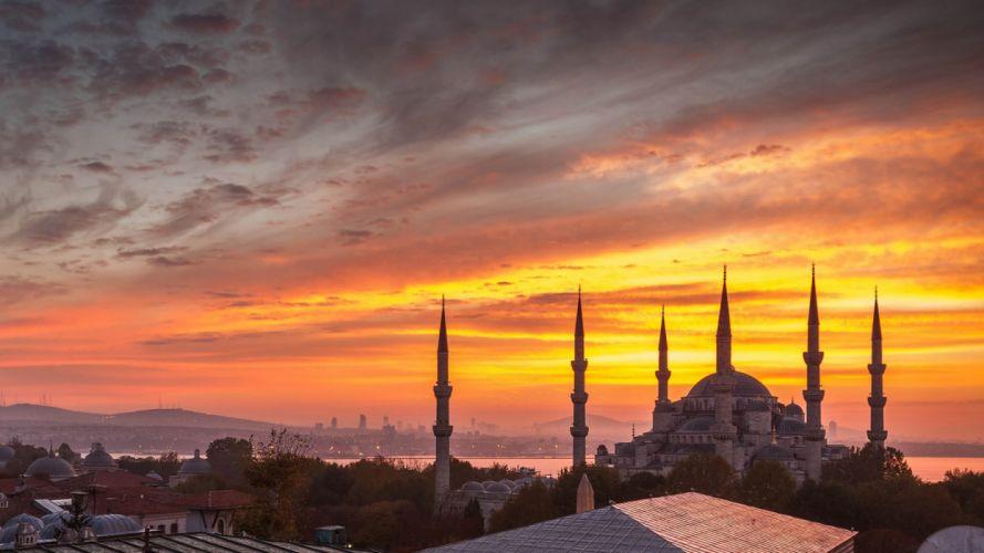 city scenery landscape turkey natural beauty tree turkiye istanbul sunset sky clouds wallpaper