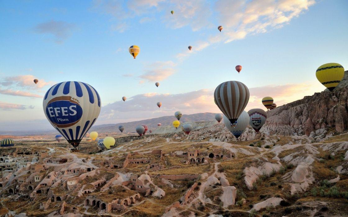 city scenery landscape turkey natural beauty tree turkiye urgup balloons sky wallpaper