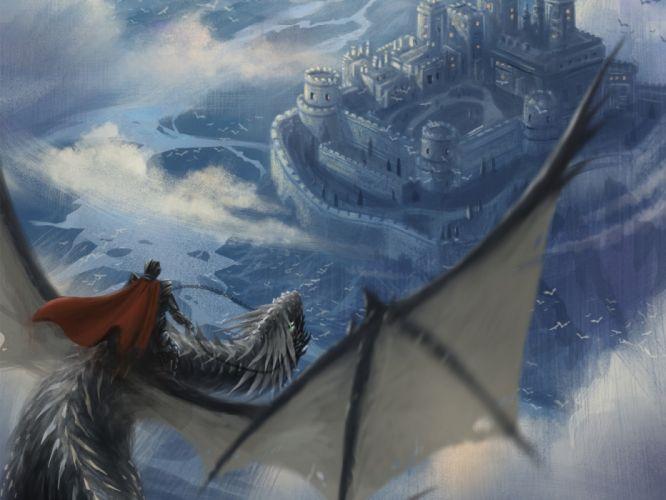 water houses dragons men sky fantasy wallpaper