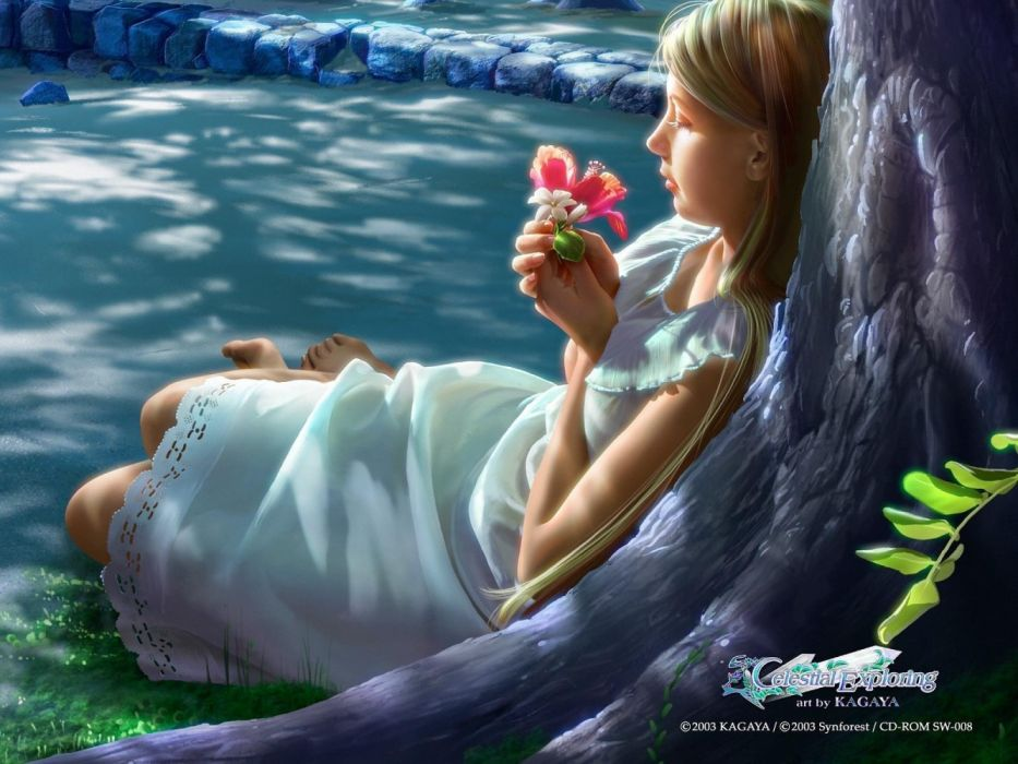 water girls pictures phrases fantasy flowers wallpaper