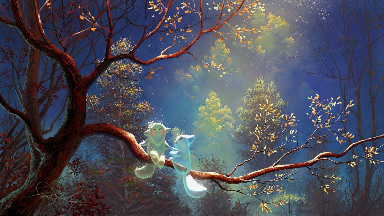 trees sky night nature figures fantasy wallpaper