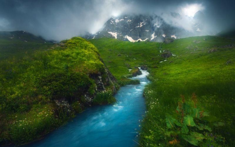 mountain river clouds sky landscape wallpaper