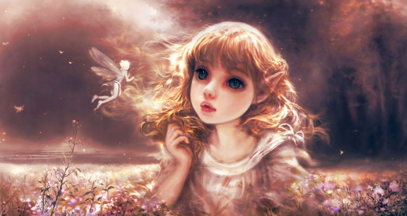 girls nature drawings fantasy flowers widescreen elves wallpaper