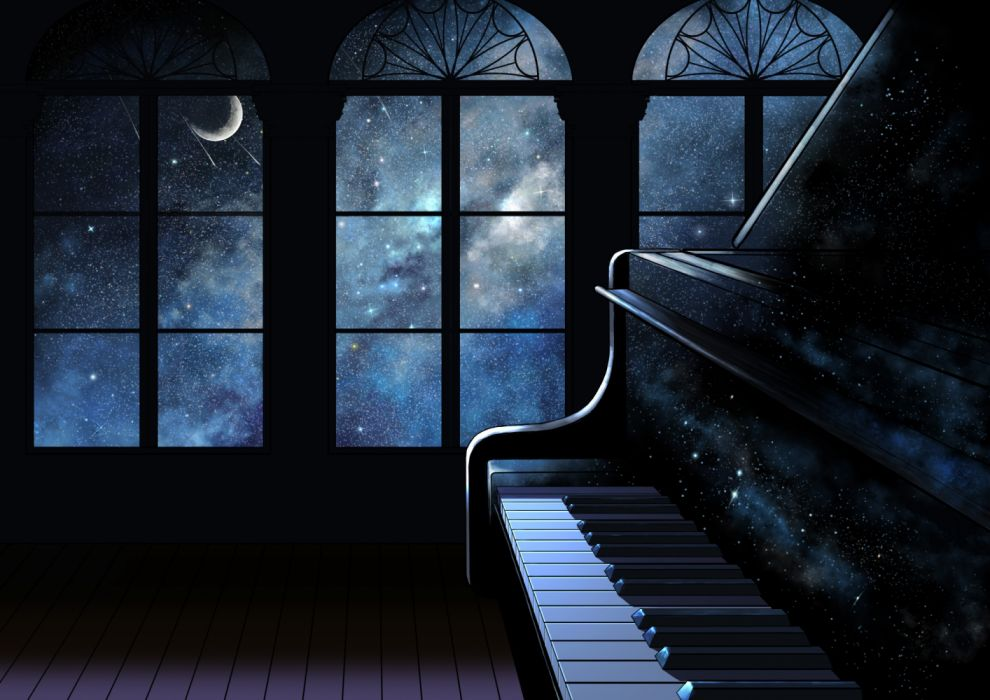 piano anime moon night wallpaper