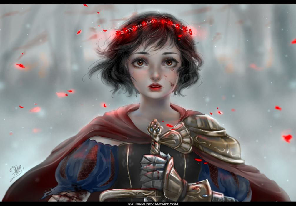 girls winter blood leaves military nature Snow White drawings fantasy Snow White wallpaper