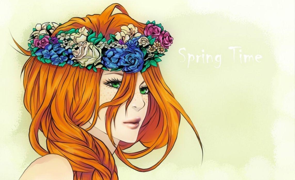 red hair flower beauty girl wallpaper