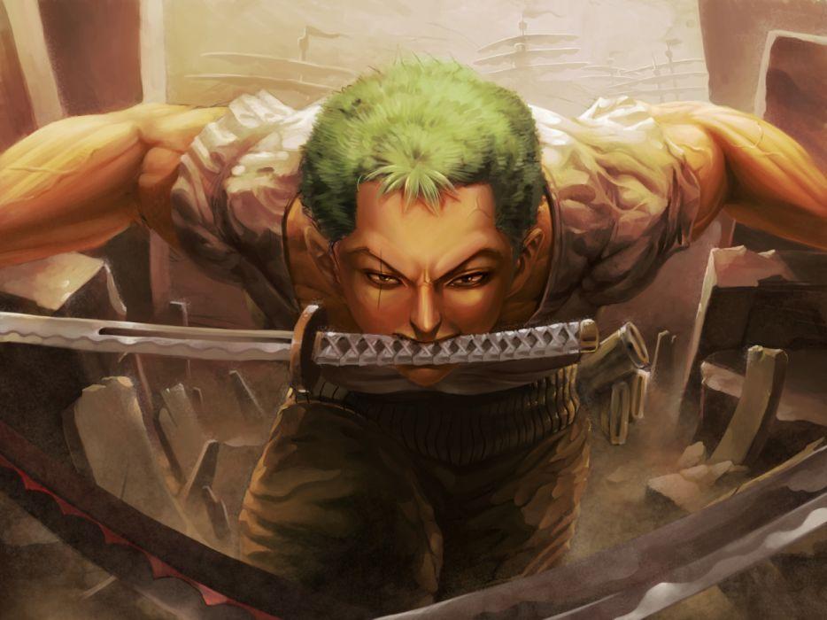 man Anime Roronoa Zoro sword wallpaper