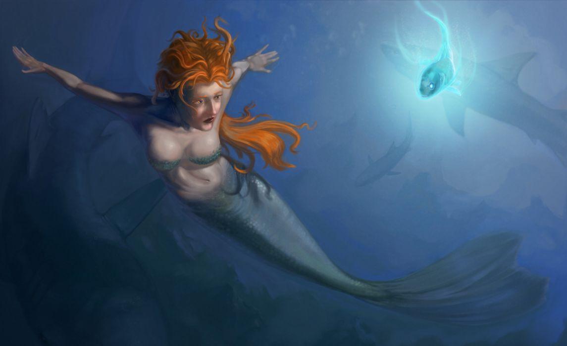 mermaid woman red hair sea ocean fish fantasy wallpaper