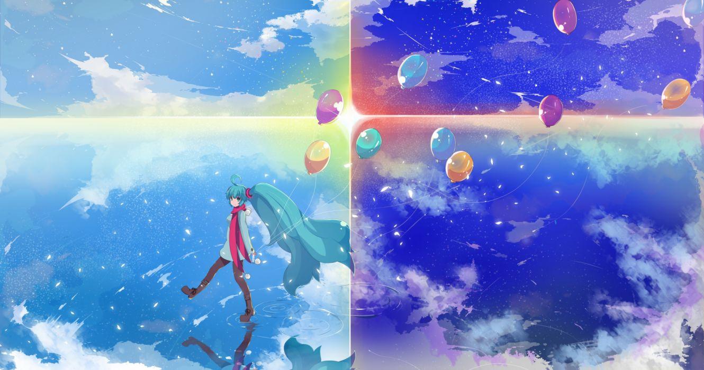 hatsune miku water balloons girls manga sky night nature wallpaper