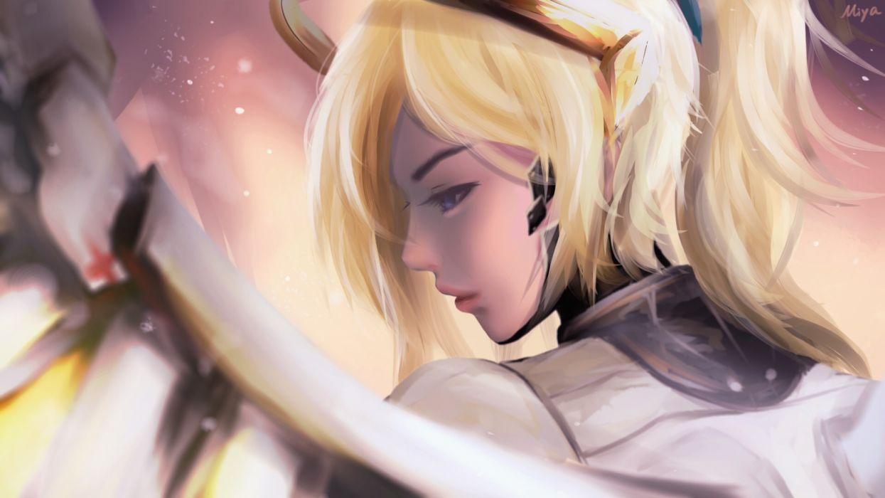 Games Mercy Overwatch Digital Art wallpaper