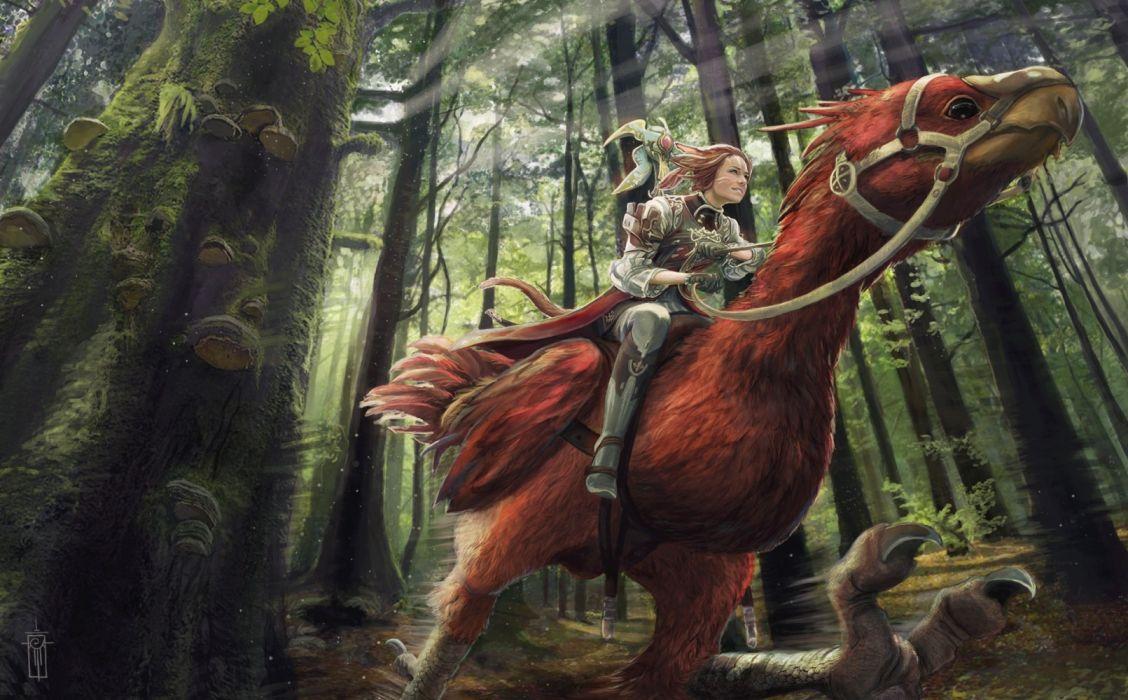 Games Final Fantasy Artwork girl fantasy forest wallpaper