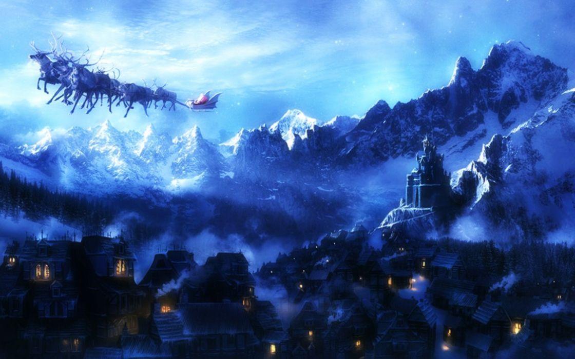 fantasy landscape beauty city mountain clouds sky wallpaper