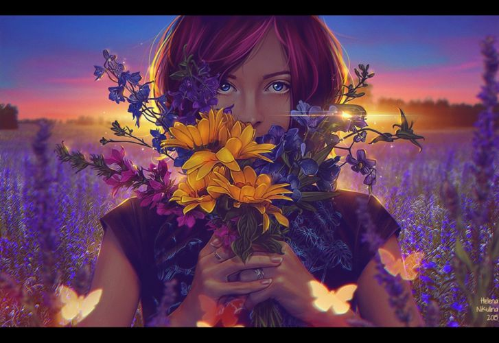 Girl with flowers wallpaper
