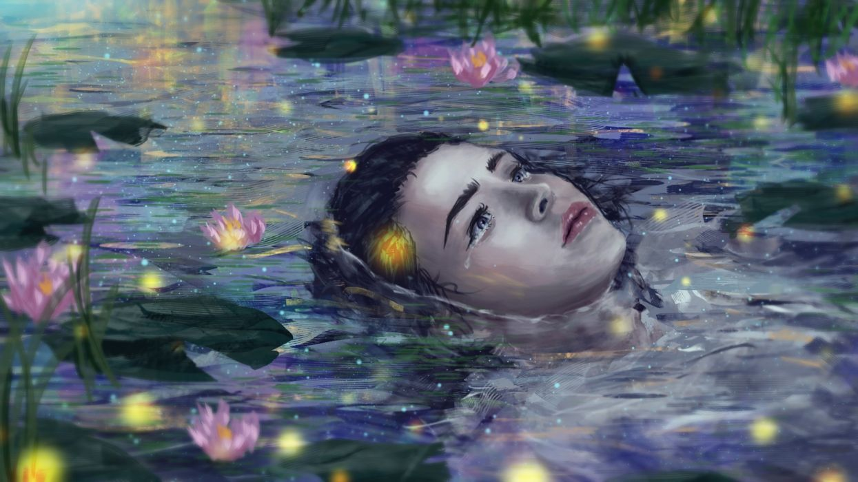 fantasy water girls drops insects nature drawings flowers wallpaper