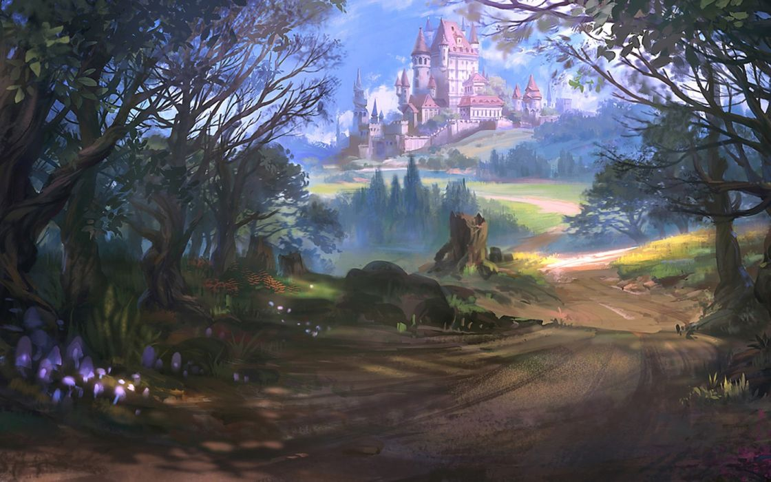 fantasy landscape beauty city tree wallpaper