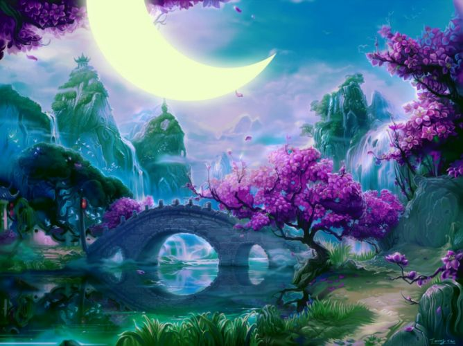 fantasy water trees beautiful moon bridges sky nature figures flowers wallpaper