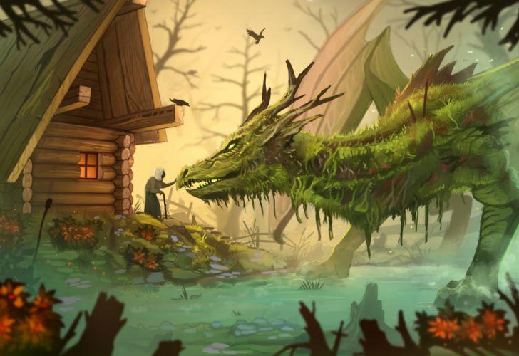 fantasy landscape beauty city tree dragon wallpaper