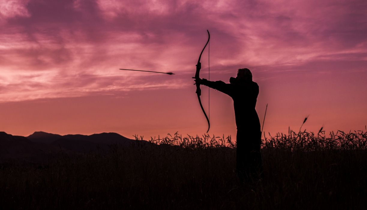 accuracy action active activity aim aiming archer archery arrow athlete backlit bow dawn dusk environment evening field grass hunt hunter icon landscape wallpaper