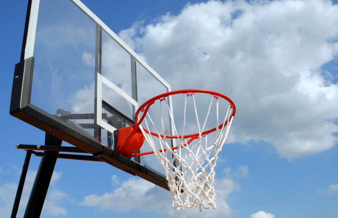 action active activity basket basketball blue sky clouds court equipment fun game high hoop leisure lifestyle net outdoors recreation rim ring sport wallpaper