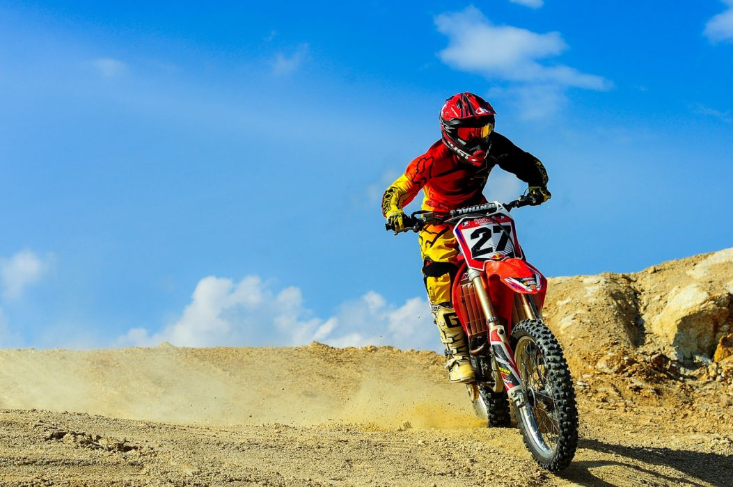 action adventure biker clouds competition dust fast fun helmet hurry man motion motocross motorbike motorcycle outdoors person race wallpaper