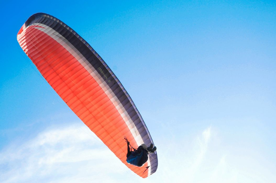 adventure air aircraft clouds daylight flight flying freedom height high low angle shot outdoors parachute paragliding person recreation sky wallpaper