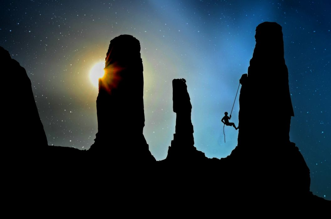 adventure backlit dark dawn dusk evening experience landscape leisure light man mystery people rock rock climbing rope secure wallpaper