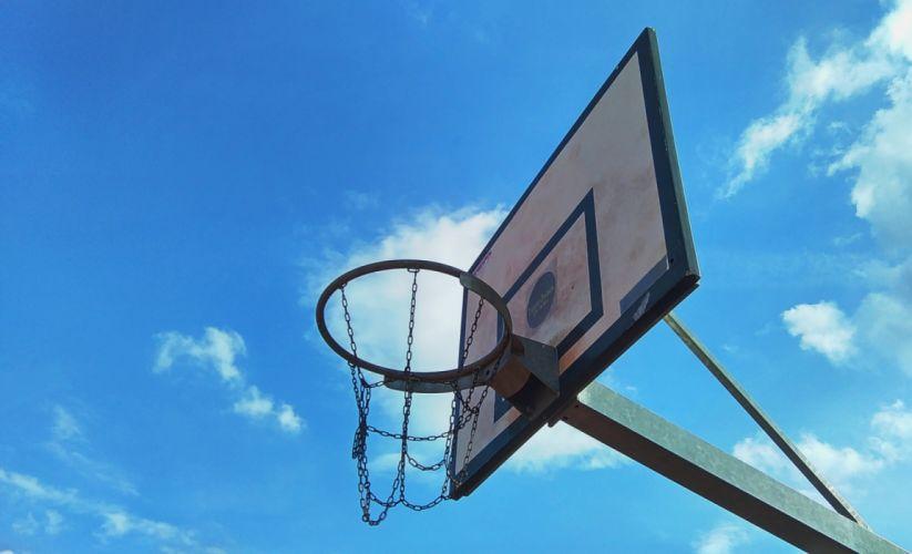 backboard ball basket basketball blue sky clouds equipment game high leisure outdoors play recreation ring sky sport summer sunny wallpaper