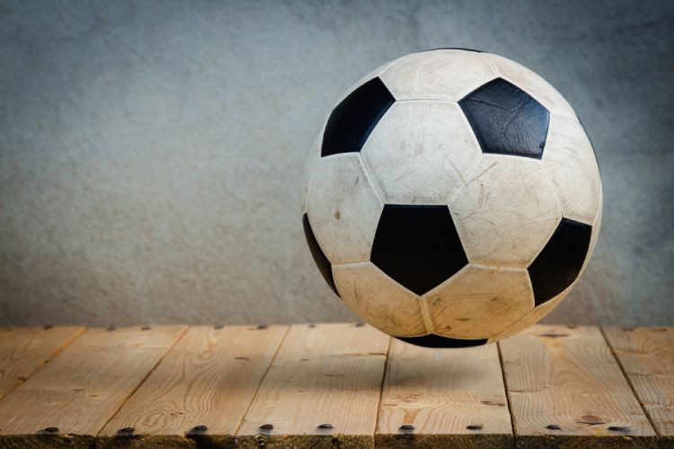 ball fun game goal league leather leisure play recreation round rustic soccer soccer ball sports sports equipment stadium still life table wood wooden wallpaper