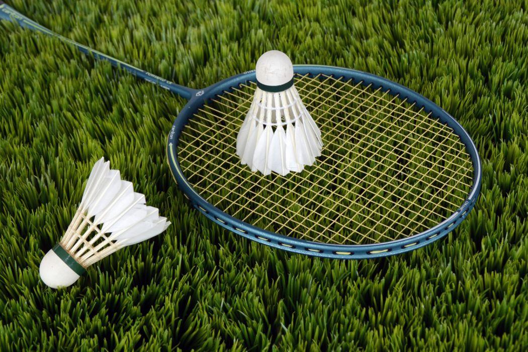 Blue Badminton Racket With Shuttlecock wallpaper