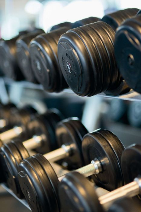 bodybuilding close-up dumbbells equipment exercise fitness gym health heavy indoors iron machinery power sport steel strength wallpaper