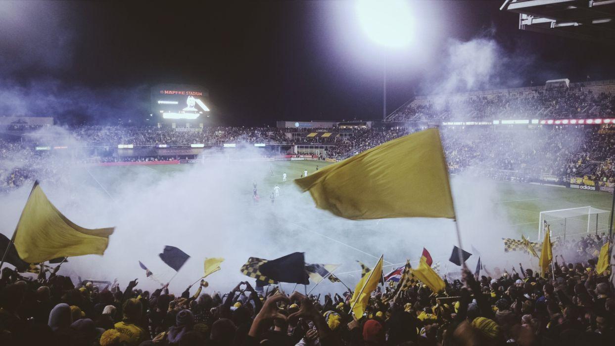 cheering crowd event fans field flags football hooligans match people smoke soccer spectators wallpaper