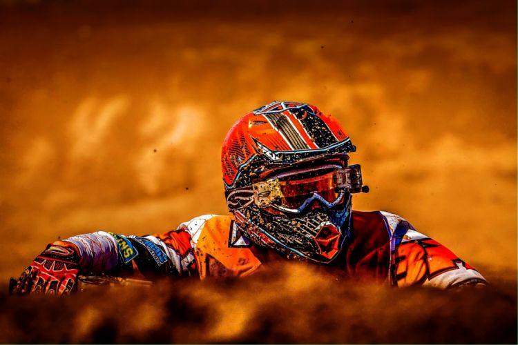 Man Wearing White Black and Orange Motorcross Suit wallpaper