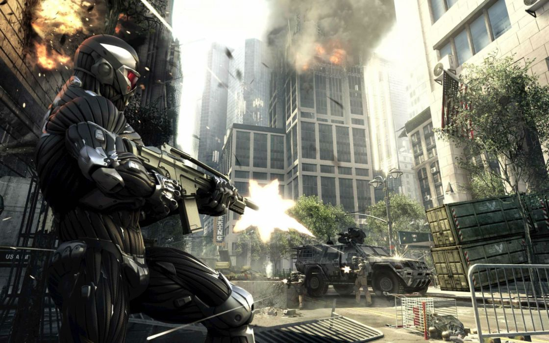 CRYSIS action armor fighting fps futuristic sci-fi shooter warrior technics robot cyborg nano nanosuit armored wallpaper