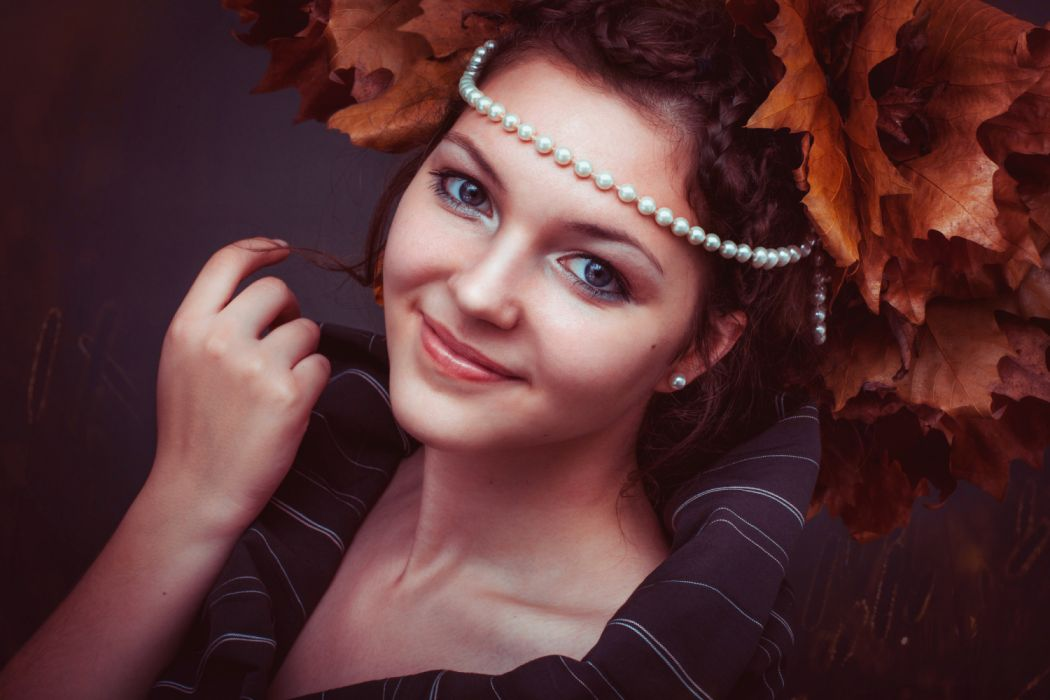 adult attractive autumn beads beautiful close-up elegant eyes face fashion female girl glamour hair hairstyle hand happy jewelry lady wallpaper