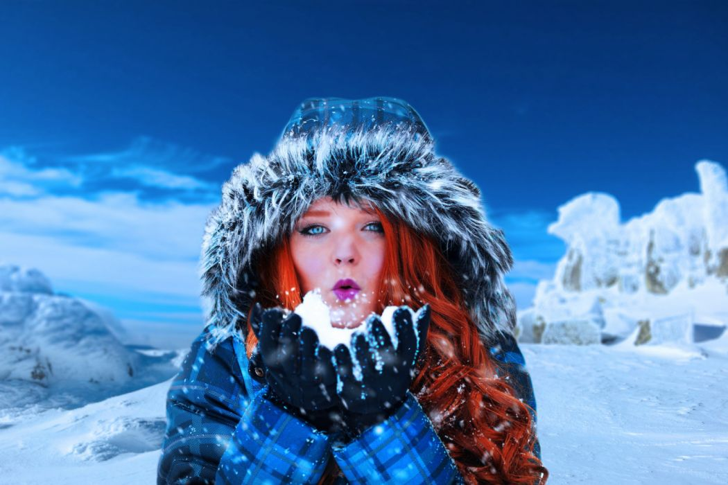adult beautiful blowing christmas cold cool fashion female freezing frost frozen fun girl hands ice icy landscape lid model outdoor outdoors people person wallpaper